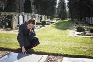 Woman Grieving Cemetery