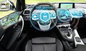 Black self-driving car in autonomous mode