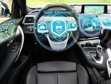 Black self-driving autonomous car